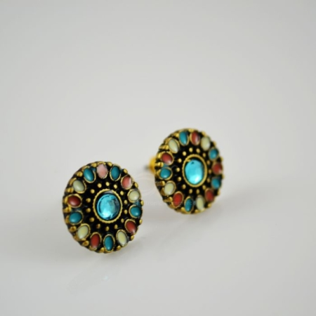 Disc-Shaped Colorful Rhinestone Embellished Earrings