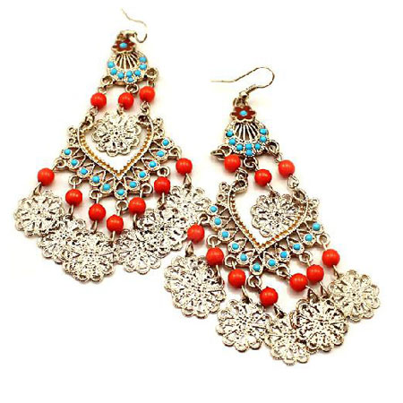 Pair-of-Beads-and-Openwork-Alloy-Flower-Embellished-Earrings