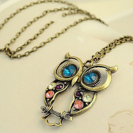 Retro-Owl-Rhinestone-Inlaid-Necklace